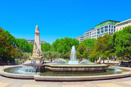 Madrid, Spain - June 05, 2017 : Spain Square (Plaza de Espana)  is a large square, a popular tourist destination located in central Madrid, Spain at the western end of the Gran Via. Editorial
