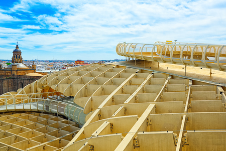 Seville, Spain - June 08,2017: Panoramic view of the city of Seville from the observation platform Metropol Parasol, locally also known as Las Setas. Spain. Editorial