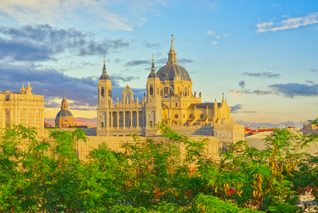 Panorama view on Royal Palace (Palacio Real) in the capital of Spain - beautiful city Madrid from a birds eye view. Spain. Editorial