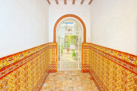 Main entrance (porch) to the ancient Seville houses. Spain.