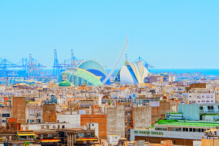 Valencia, Spain - June 13, 2017 : Panoramic view  of Valencia, City of Science and art  by S.Calatrava. Spain. 에디토리얼