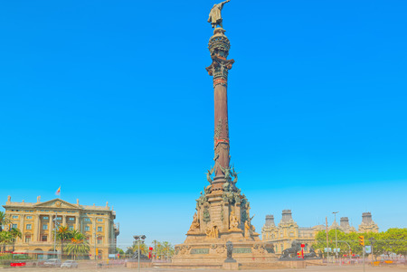 Barcelona, Spain - June 12, 2017 : Monument of Columbus, stand near Rambla Avenue in Barcelona, most popular place for tourists. Spain.