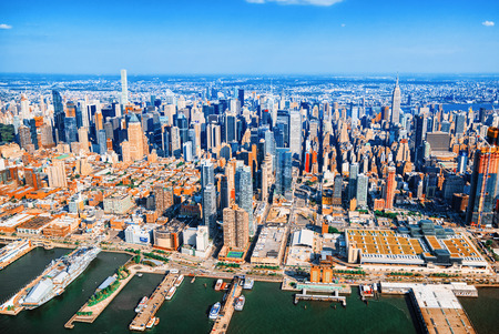 Fly over, view of New York and Midtown Manhattan from a birds eye view. Stock Photo