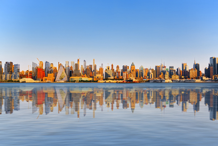 Skyline view of skyscrapers from water, from Hudson to Manhattan,NY. New York City is  Financial capital of America. USA. 스톡 콘텐츠