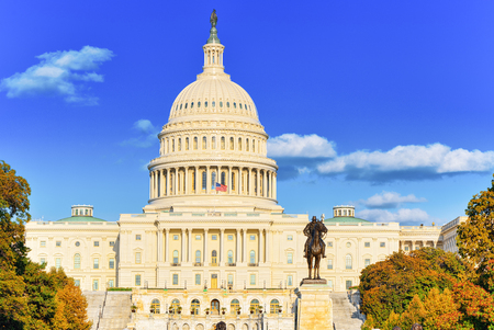 Washington, DC, USA -September 10, 2017 : United States Capitol, Capitol Building,home of the United States Congress and Ulysses S. Grant Memorial.