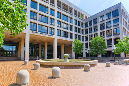 Urban cityscape of Washington, United States Department of Labor, 200 Constitution Ave NW. Stock Photo
