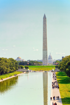 Washington Monument, Lincoln Memorial Reflecting Pool and World War II Memorial on National Mall. Editorial