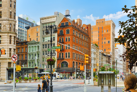 New York, USA- September 05, 2017 : Urban cityscape of New York. Cross of East 23 Street and Broadway, cars, people and tourists on it. Sajtókép