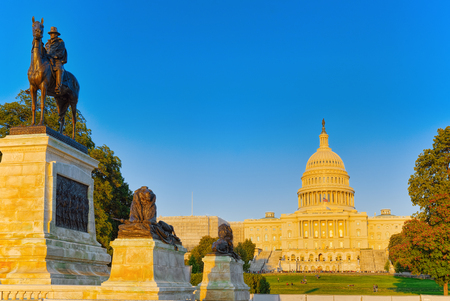United States Capitol, Capitol Building,home of the United States Congress and Ulysses S. Grant Memorial. Stock Photo