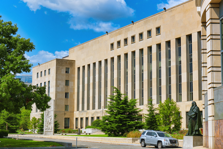 Washington, DC, USA - September 10,2017 : Urban cityscape of Washington, US District Court E. Barrett Prettyman United States Courthouse.