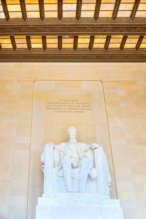 Monument for Abraham Lincoln, by Daniel Chester French in Lincoln Memorial U.S. National Register of Historic Places.