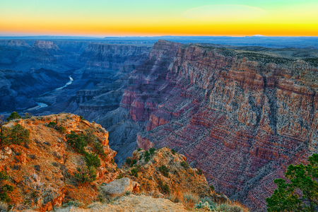 Amazing natural geological formation - Grand Canyon in Arizona, Southern Rim. USA. Stock Photo