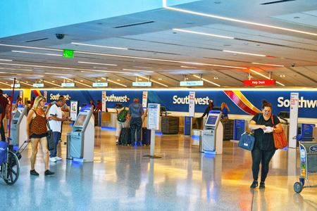 Los Angelos, California, USA - September 08, 2018: Interior of Los Angeles Airport named by Tom Bradley. Terminal Southwest Airlines. Stock Photo - 113681000
