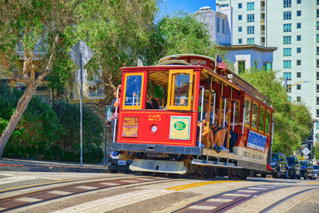 San Francisco, California, USA - September 09, 2018: Retro, vintage and tourist  cable car. 新闻类图片