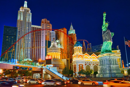 Las Vegas, Nevada, USA - September 15, 2018: Main street of Las Vegas-is the Strip in evening time. Casino, hotel and resort- New York.
