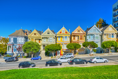 San Francisco, California, USA - September 10, 2018: Panoramic view of the San Francisco Painted ladies (Victorian Houses).