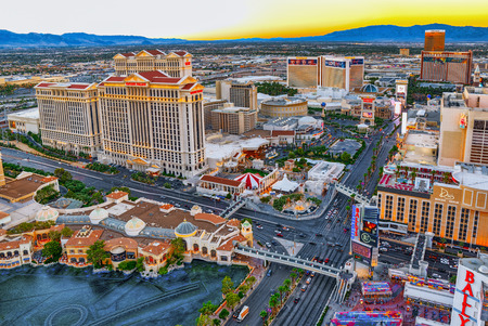 Las Vegas, Nevada, USA - September 17, 2018: Main street of Las Vegas is the Strip. View from above.