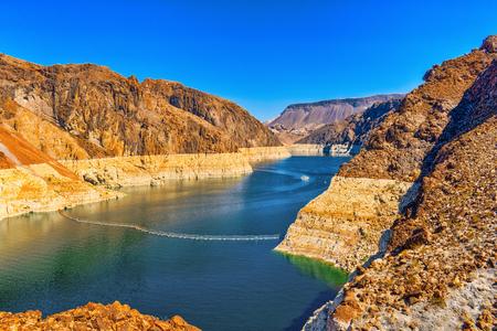 Famous and amazing Dam at Lake Mead, Nevada and Arizona Border, USA. Stock Photo