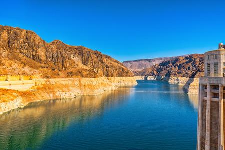 Famous and amazing Hoover Dam at Lake Mead, Nevada and Arizona Border, USA.