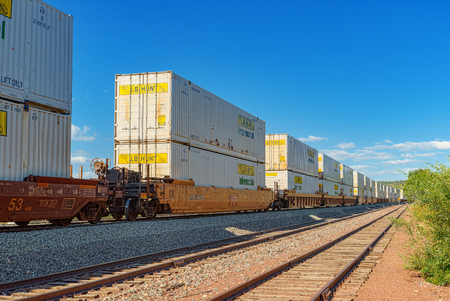Flagstaff, Arizona, USA - September 22, 2018:  Freight train BNSF Railway Companies on a sunny day in Arizona. Editorial