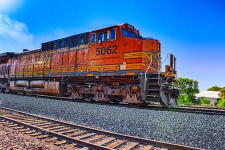 Flagstaff, Arizona, USA - September 22, 2018:  Freight train BNSF Railway Companies on a sunny day in Arizona. Editorial