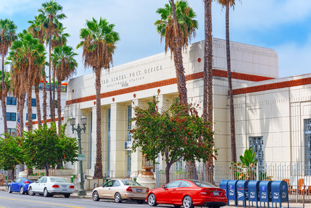 Los Angelos, California, USA - September 04, 2018: United States Post Office on Hollywood Boulevard  in Hollywood.