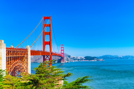 Panorama of the Gold Gate Bridge and the other side of the bay. San Francisco, California, USA. 写真素材