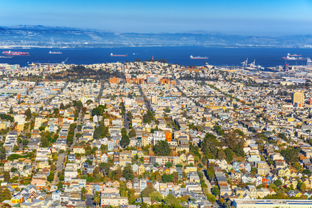 Panoramic view of the San Francisco city from the hill Twin Peaks.
