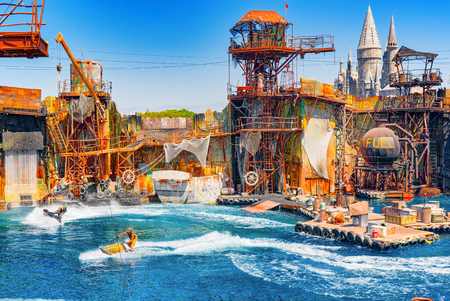 Los Angelos, California, USA - September 07, 2018: World famous park Universal Studios in Hollywood. Movie Show performance- Water World. Editorial