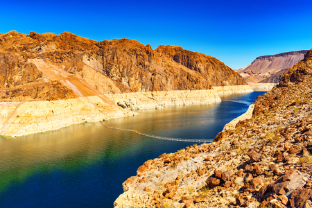Famous and amazing Hoover Dam at Lake Mead, Nevada and Arizona Border, USA. Stockfoto - 116151631