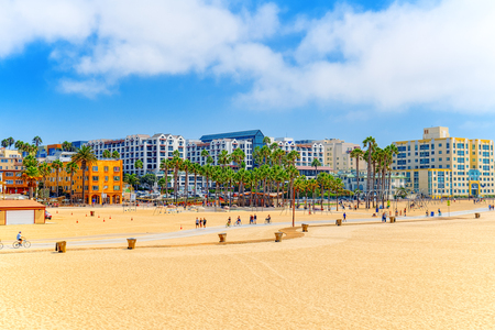 View of the beach of Santa Monica and the Pacific Ocean. Suburbs of Los Angeles.California.