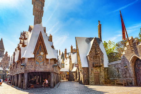 Los Angelos, California, USA - September 07, 2018: World famous park Universal Studios in Hollywood. Fairytale street from Harry Potter movie.