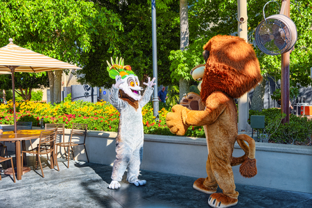 Los Angelos, California, USA - September 07, 2018: World famous park Universal Studios in Hollywood. Heroes of Madagascar cartoon.