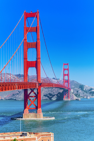 Panorama of the Gold Gate Bridge and the other side of the bay. San Francisco, California, USA. Stock Photo