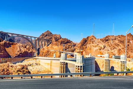 Famous and amazing Dam at Lake Mead, Nevada and Arizona Border, USA. 免版税图像