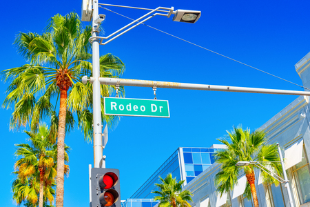 Rodeo Drive Road Sign on fashionable street Rodeo Drive in Hollywood. USA.