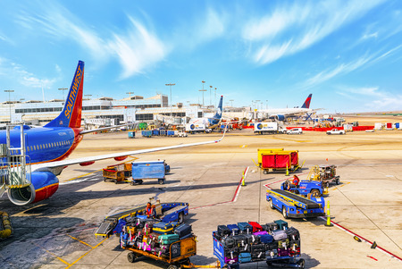 Los Angelos, California, USA - September 08, 2018: Terminal view of Los Angeles Airport named by Tom Bradley.View of the airfield with airplanes. Stock Photo - 119636356