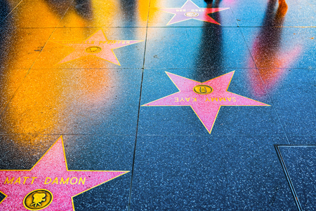 Los Angelos, California, USA - September 05, 2018: Hollywood Walk of Fame in Hollywood Boulevard. Matt Damon, Michelle Pfeiffer. Editorial