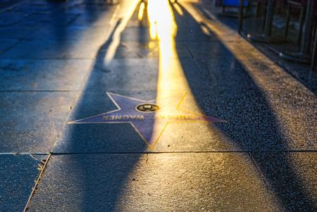 Los Angelos, California, USA - September 05, 2018: Hollywood Walk of Fame in Hollywood Boulevard.
