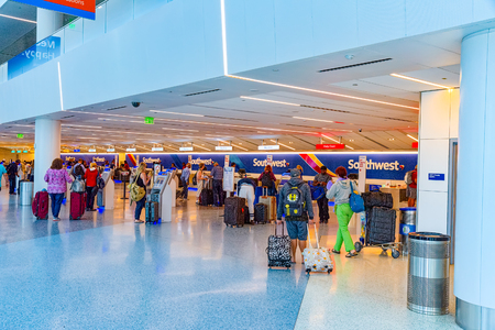Los Angelos, California, USA - September 08, 2018: Interior of Los Angeles Airport named by Tom Bradley. Terminal Southwest Airlines.