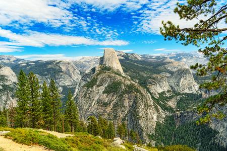 Glacier Point. Magnificent national American natural park - Yosemite. Stock Photo