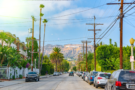Los Angelos, California, USA - September 05, 2018: Inscription Hollywood on the Hollywood Hills in Los Angeles. Redakční