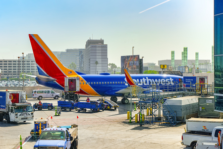Los Angelos, California, USA - September 08, 2018: Terminal view of Los Angeles Airport named by Tom Bradley.View of the airfield with airplanes. Editorial