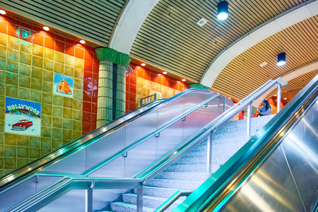 Los Angelos, California, USA - September 04, 2018: Inside, the interior of the subway station Hollywood Boulevard.