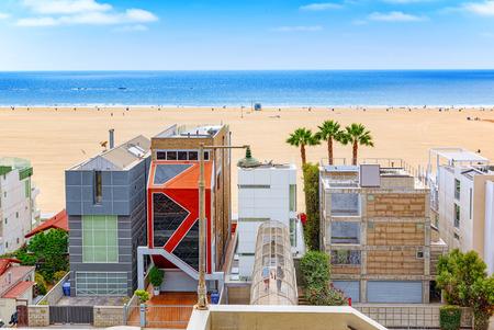Santa Monica, California, USA - September 07, 2018: View of the beach of Santa Monica and the Pacific Ocean. Suburbs of Los Angeles.
