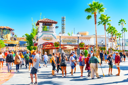 Los Angelos, California, USA - September 07, 2018: World famous park Universal Studios in Hollywood. Central walking streets of the park. Редакционное
