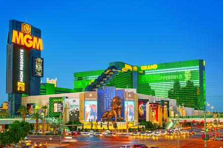 Las Vegas, Nevada, USA - 15 septembre 2018 : rue principale de Las Vegas-est le Strip en soirée. Casino, hôtel et complexe-MGM Grand.