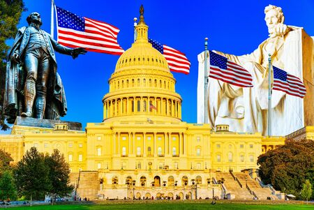 United States Capitol, Capitol Building,home of the United States Congress, legislative branch of the U.S. federal government. Stock Photo