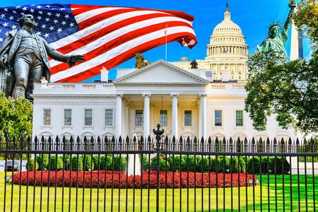 The White House is on the north side and the lawn is in front of it шт  Washington, DC. Washington is capital of United States.