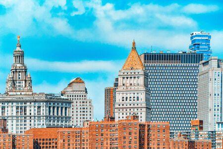 View to Lower Manhattan. New York City Financial capital of America. USA.